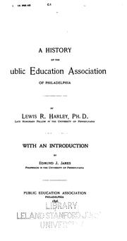 Cover of: A history of the Public education association of Philadelphia