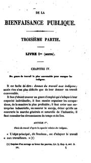 Cover of: De la bienfaisance publique