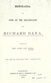 Cover of: Memoranda of some of the descendants of Richard Dana