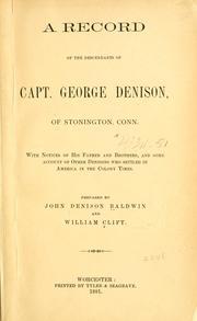A record of the descendants of Capt. George Denison, of Stonington, Conn.