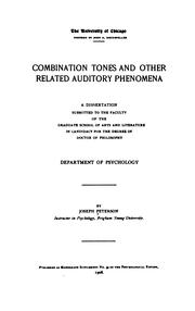 Cover of: Combination tones and other related auditory phenomena