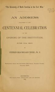 Cover of: The University of North Carolina in the Civil War