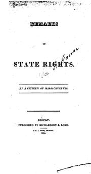 Cover of: Remarks on state rights. |