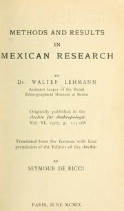 Cover of: Methods and results in Mexican research