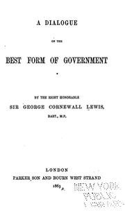 Cover of: A dialogue on the best form of government