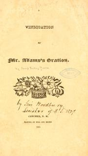 Cover of: A vindication of Mr. Adams's oration