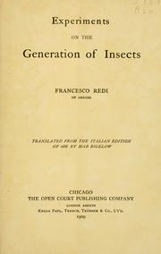 Cover of: Experiments on the generation of insects