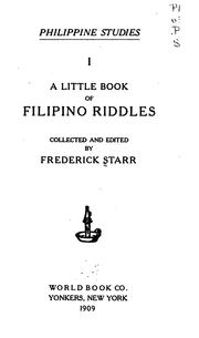Cover of: A little book of Filipino riddles