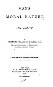 Cover of: Man's moral nature