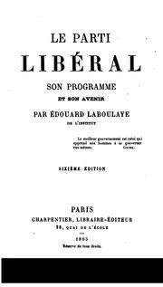 Cover of: Le parti libéral
