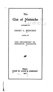 Cover of: The gist of Nietzsche