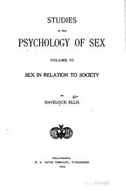 Cover of: Sex in relation to society