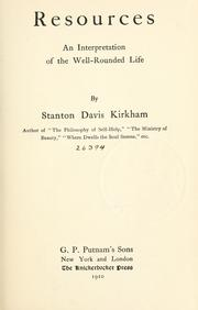 Cover of: Resources | Kirkham, Stanton Davis