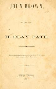 Cover of: John Brown | Henry Clay Pate