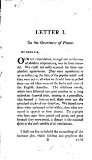 Two letters addressed to a member of the present Parliament, on the proposals for peace with the regicide Directory of France by Edmund Burke