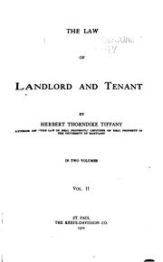 Cover of: law of landlord and tenant | Herbert Thorndike Tiffany