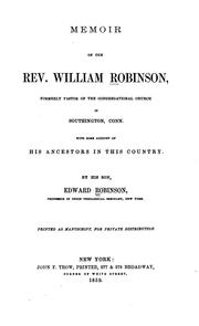 Cover of: Memoir of the Rev. William Robinson