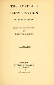 Cover of: lost art of conversation | Krans, Horatio Sheafe