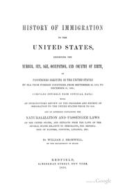 Cover of: History of immigration to the United States by Bromwell, Wm. J.