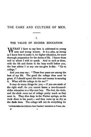 Cover of: The care and culture of men: a series of addresses on the higher education
