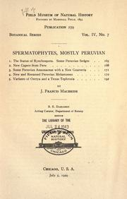 Cover of: Spermatophytes, mostly Peruvian