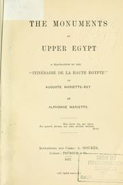 Cover of: The monuments of Upper Egypt
