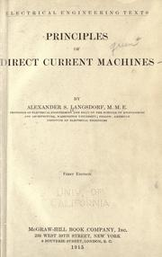 Principles of direct-current machines by Alexander Suss Langsdorf