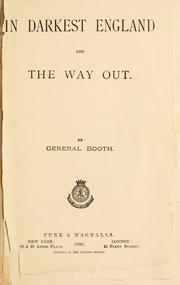Cover of: In darkest England, and the way out