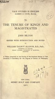 Cover of: The tenure of kings and magistrates