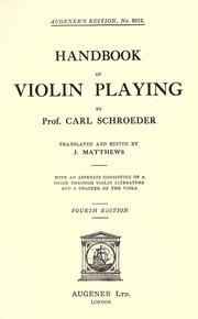 Cover of: Handbook of violin playing | Carl Schroeder