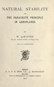 Cover of: Natural stability and the parachute principle in aeroplanes