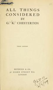 Cover of: All things considered. by G. K. Chesterton