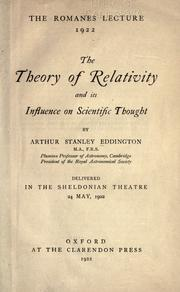 Cover of: The theory of relativity and its influence on scientific thought