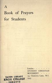 Cover of: A book of prayers for students |