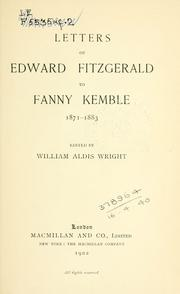 Cover of: Letters to Fanny Kemble, 1871-1883