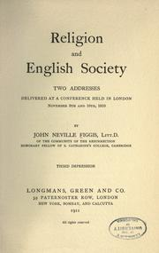 Cover of: Religion and English society