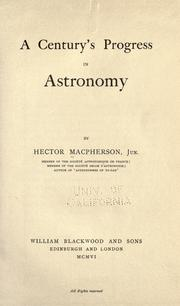 Cover of: A century's progress in astronomy