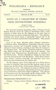Cover of: Notes on a collection of fishes from southeastern Venezuela