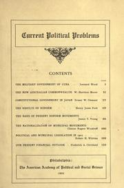 Cover of: Current political problems: [Contributions by] Leonard Wood [and others]