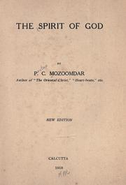 The spirit of God by P. C. Mozoomdar