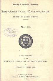 Cover of: A bibliography of the historical literature of North Carolina