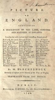 Cover of: A picture of England by Johann Wilhelm von Archenholz
