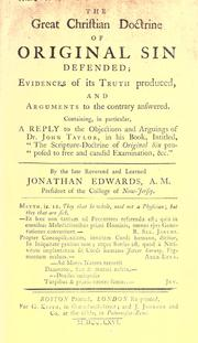 The great Christian doctrine of original sin defended by Edwards, Jonathan