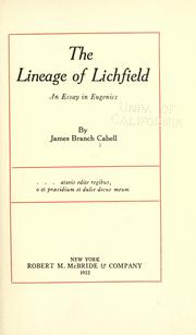 Cover of: The lineage of Lichfield
