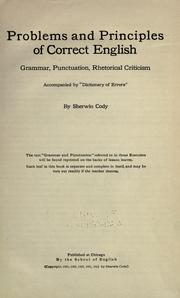 Cover of: Problems and principles of correct English
