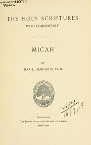 Cover of: Micah