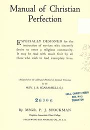 Cover of: Manual of Christian perfection | P. J. Stockman
