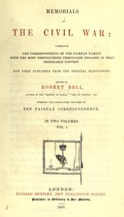 Memorials of the Civil War by Bell, Robert