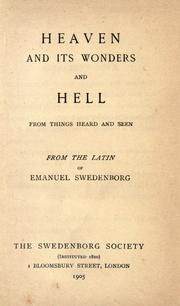 Cover of: De coelo et ejus mirabilibus: from things heard and seen