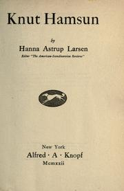 Cover of: Knut Hamsun